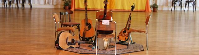 Collection of instruments in dance hall